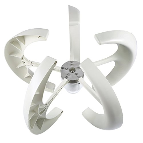 Genuine store 2018 Upgrade Wind Turbine Generator Kit of 5 Blades 400 Watt 12V   High Efficienc Lantern Vertical Wind Generator Kit for Home and Business Power Supplementation -90 x 90 x 60 cm (white)