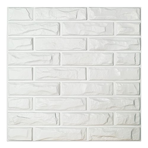 Art3d PVC 3D Wall Panels White Brick Wall Tiles, 19.7