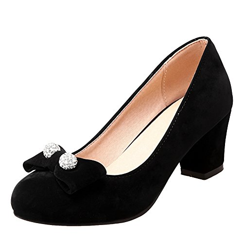 Latasa Mujeres Faux Suede Arcos Mid Hee Pumps Black