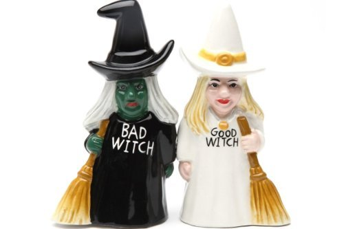 Pacific Trading Good Witch and Bad Witch Magnetic Ceramic Salt & Pepper Shakers 8607
