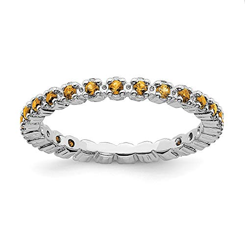 925 Sterling Silver Yellow Citrine Band Ring Size 8.00 Stone Stackable Gemstone Birthstone November Fine Jewelry Gifts For Women For Her