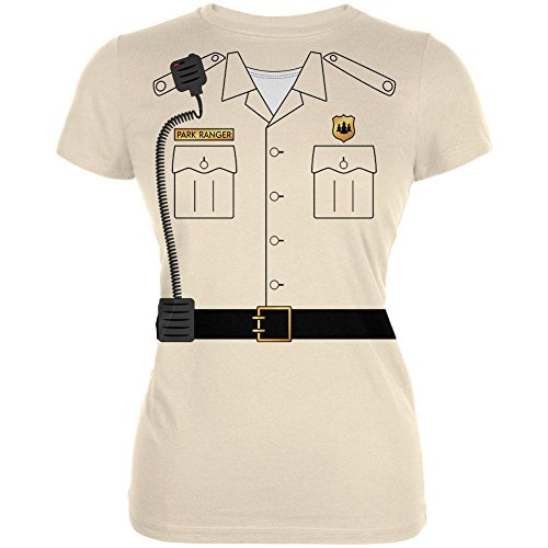 Halloween Forest Park Ranger Costume Juniors Soft T Shirt Soft Cream X-LG ()