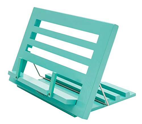 """Exerz Wooden Reading Rest Cookbook Stand Recipe Holder Bookrest Table Easel - Premium/Adjustable/Foldable/Text Book Ipad Tablet Dictionary/Natural Wood Eco Friendly - 13.5"""" x 9.5"""" x 1"""" (Blue)"""