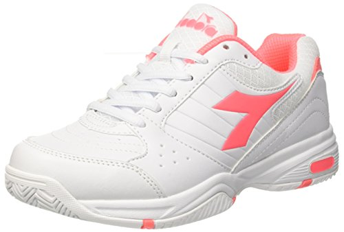 Diadora Damen Smash W Tennisschuhe, White/Coral, Elfenbein (Bianco Rosa Sciacca)