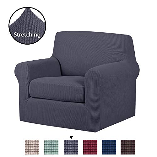 H.VERSAILTEX 2 Piece Stretch Stylish Furniture Cover/Protector Featuring Jacquqard Textured Twill Fabric, High Spandex Lycra Slipcover Machine Washable/Skid Resistance (One Seater Chair, Gray) ()