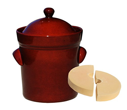 Boleslawiec Polish Pottery 10 Liter / 42 Cups Fermenting Crock Pot - PRESSING STONES INCLUDED