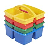 art supply caddy - ECR4Kids Small 3 Compartment Plastic School Art Caddy, Assorted (4-Pack)