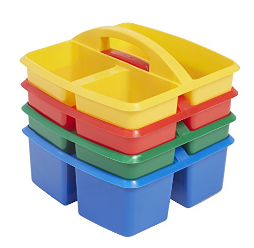 Colored Caddy - ECR4Kids Small 3 Compartment Plastic School Art Caddy, Assorted (4-Pack)