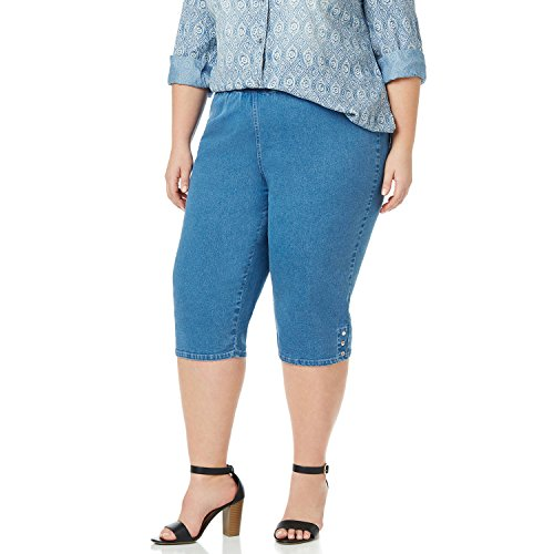 Symbidium Women's Plus-Size Easy Fit Comfort Elastic Waist Pull-On Essential Capri Pant with Hem Buttons Med Wash 4X (Button Hem Capris)