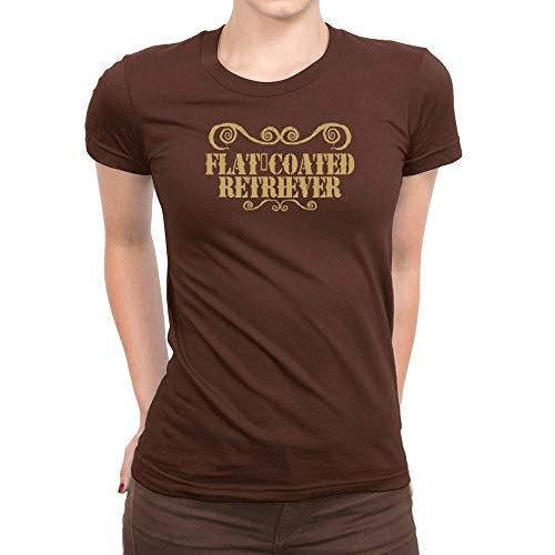 (Idakoos Flat Coated Retriever Ornaments Urban Style Women T-Shirt Brown)