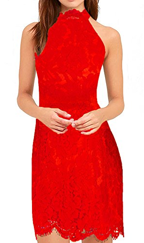 Zalalus Lace Cocktail Dress, Women's Elegant Halter High Neck Sleeveless Weeding Party Guest Sheath Dress Above Knee Length Red US (Halter Knee Length Dress)