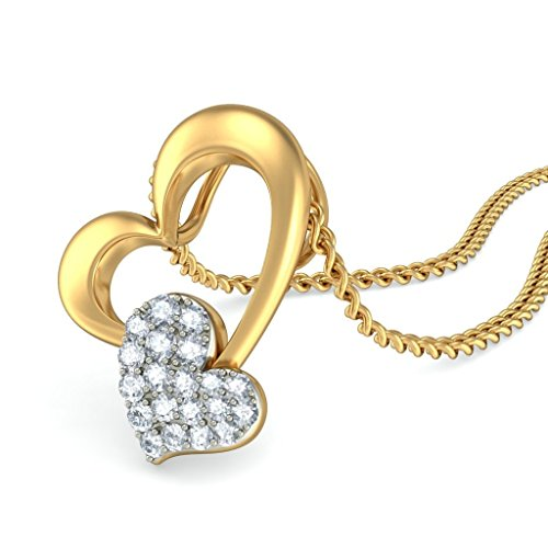 Or jaune 18K 0,14CT TW Round-cut-diamond (IJ | SI) Pendentif