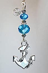 Silver Sailing Ship Ocean Anchor with Turquoise Blue and Silver Faceted Glass Ceiling Fan Pull Chain