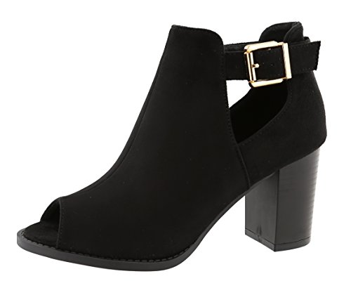 Top Moda Women's Peep Toe Cut Out Chunky Stacked Block Heel Ankle Bootie (8 B(M) US, Black)