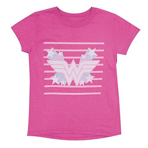 DC Comics Wonder Woman Girls Pink Stars T-shirt