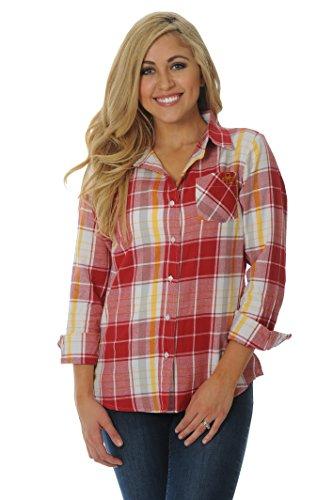 UG Apparel NCAA Iowa State Cyclones Women's Boyfriend Plaid Shirt, Medium, Crimson/Yellow/White - Ncaa Iowa University