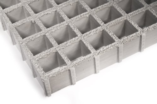Fiberglass Grating, Standard Tolerance, Gray, Antimicrobial, 1-1/2'' Thickness, 4' Width, 8' Length, 1-1/2'' x 1-1/2'' Openings by Small Parts