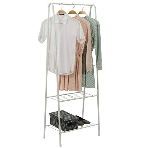 Home-Like 2-Tier Garment Rack Clothes Rack Clothing Rack Metal Clothes Rail Stand with Single Hanging Rail and 2 LayerStorage Shelf in White for Bedroom Entryway Launary L24.02 xW15.16 x H63.01 ()