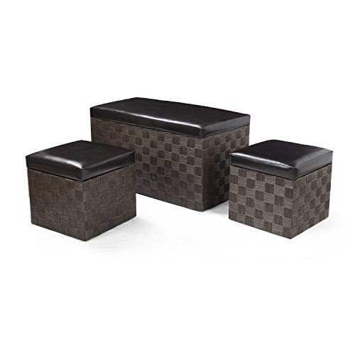 ELEGAN 3-piece Faux Leather Lid Storage Bench Ottoman (coffee)