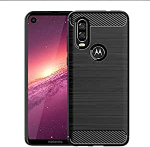 For Motorola Moto One Vision case carbon fiber drawing TPU phone shell Soft cover anti fall shockproof protective sleeve black