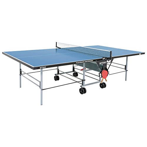 Butterfly Folding Tables (Butterfly Playback Rollaway Outdoor Table Tennis Table – 10 Year Warranty Top - 3 Year Warranty Frame – All Weather Ping Pong Table, Blue)