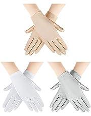 3 Pairs Women Sun Protective Gloves Sunblock Fingerless Gloves Summer Spandex Gloves Sunscreen Women Short Gloves for Girl Women Outdoor Cycling Fishing Driving Gloves