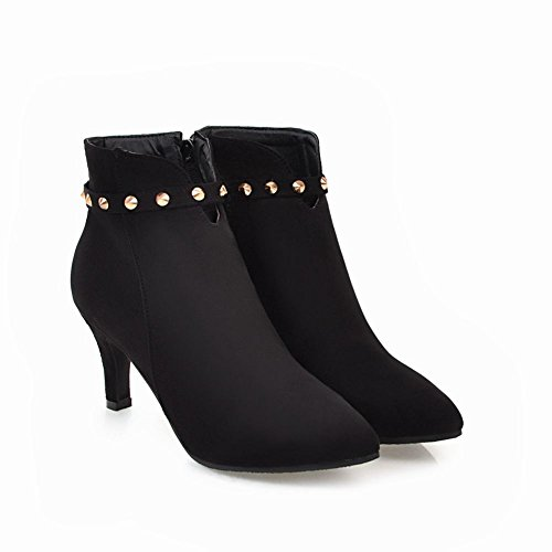 Carolbar Womens Pointed Toe Zip Spikes Sexy High Heel Short Boots Black RxdQaeHXIC
