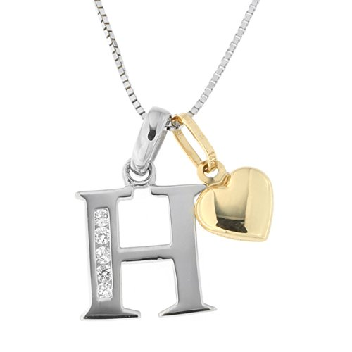 Girls' 14k White Gold Cubic Zirconia Initial Pendant with Yellow Gold Heart Charm 13'' Necklace - H by Beauniq