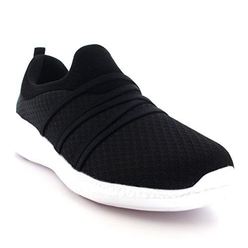 Mujer Padded Entrenadores Caminar Confortable Malla Ligero para Plano Negro Zapatos Blanco 1xnOS1