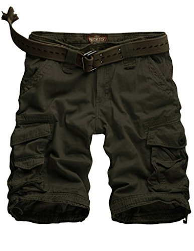 Match Men's Twill Comfort Cargo Short Without Belt #S3612 (Label size 6XL/44 (US 42), Army green)