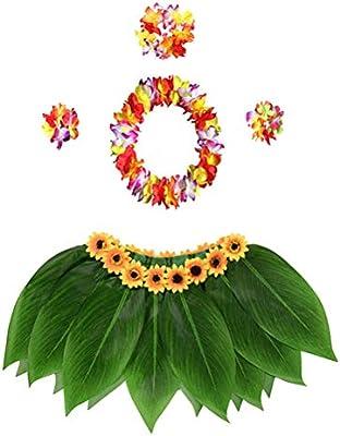 Amosfun 4 unids Disfraz Hawaiana Falda Hula Guirnalda de Flores ...
