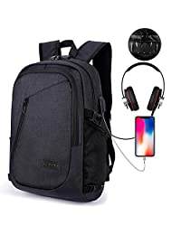 Laptop Backpack, Kobwa Anti-theft Business Slim Computer Bag With USB Charging Port and Headphone Port For Women and Men, Fits Up to 15.6 Inch Laptop Notebook and Tablet IPad (Black)