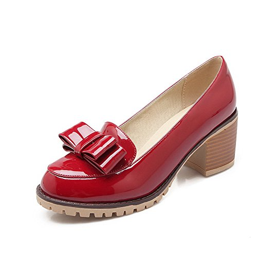 Correct VogueZone009 Cuir Femme Tire Légeres Rouge Couleur Unie Talon Rond Chaussures PU à HggXnqxrw