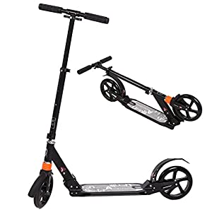 WeSkate Adult Folding Kick Scooter with Dual Suspension, Hight-Adjustable Easy-Folding Push Scooter with Big Wheels for Teens Kids Age 13 Up (Black)