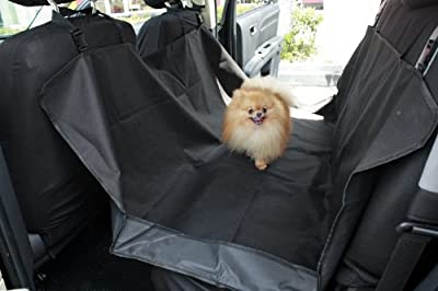 """OxGord® Pet Dog Car Seat Cover for Rear Bench Seat - 2015 Hammock Style - Passenger Can Still Use Seat Belts - Thick HD Fabric Waterproof and Washable - 58"""" x 57"""" Easy Install Fits Most Cars, SUV, Vans & Trucks"""