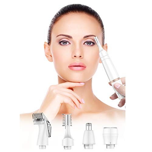 Eyebrow Trimmer Facial Hair Removal for Women, 4 in 1 Eyebrow Razor and Hair Remover, Painless Eyebrow Lips Body Face Razors for Women Battery Operated (1228-1)