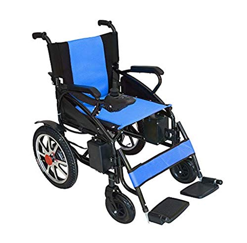 - 2019 New Majestic Buvan Electric Wheelchairs Silla de Ruedas Electrica para Adultos FDA Approved Transport Friendly Lightweight Lithium Battery Folding Electric Wheelchair for Adults (Blue)
