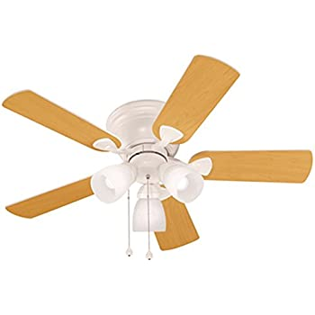 Harbor Breeze Centreville 42 In White Flush Mount Indoor Ceiling Fan With Light Kit Amazon Com