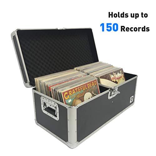 Classic Acts Vinyl Record Album Storage Case – Aluminum Lp Record Player Crates for Records (Holds 150 Records)