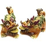 "Happy Bonsai Golden Qilin Pair (Set of 2) 4.5"" Height"