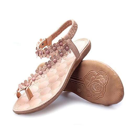 Sandalias del Las de de Yellow Flor de del Verano Mujeres Bohemia Znyo Dedo Clip del Sandalias del de tamaño Zapatos Talla pie única Playa Color la la Yellow zqwEWd