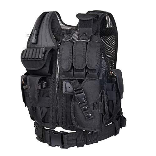 GZ XINXING 100% Full Refund Assurance Tactical Airsoft Paintball Vest (Black) (Swat Vest Paintball)