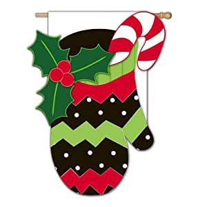 Evergreen Enterprises, Inc. Christmas Banner Flag Holiday Mitten