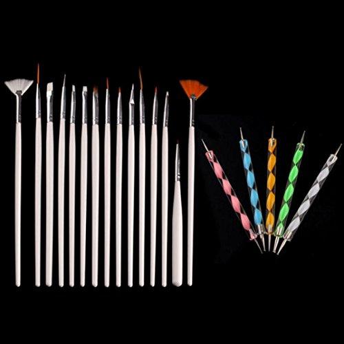 Gotd Nail Art Brush Design Dotting Painting Drawing Polish Brush Pen Tools White 20PCS (White)