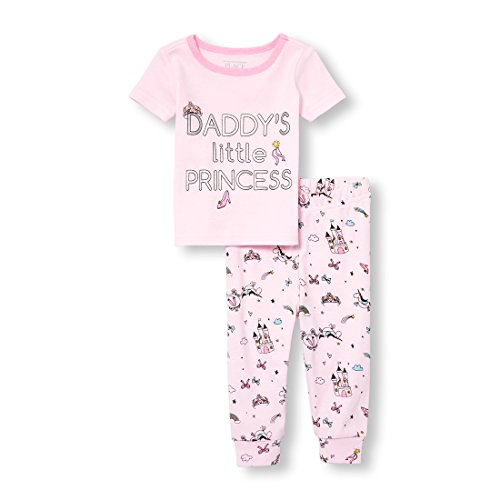 The Children's Place Baby Girls 2-Piece Pajama Set, Pink Admirer, - Childrens Pink Pajamas