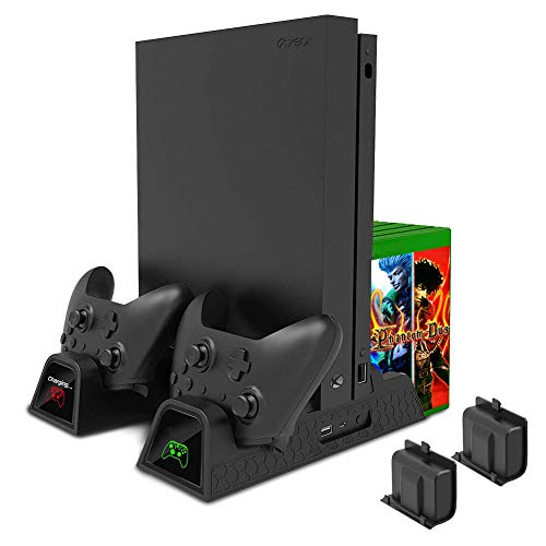 RegeMoudal Vertical Cooling Stand Compatible with Xbox One/S/X, Cooling Fan with 2*600mAh Batteries, 12 Disc Storage, USB Port, 2 Controller Charging Stations for Xbox One/S/X/Elite USB Cable Included