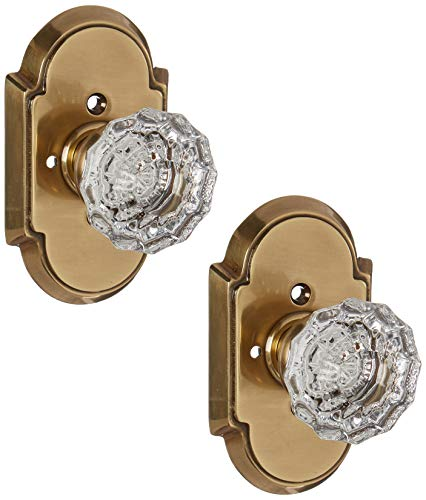 Crystal Astoria Clear (Arched Rosette Set with Fluted Crystal Knobs Privacy in Antique Brass. Doorsets.)