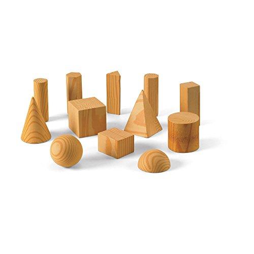hand2mind Foam Wood-Look Geometric Solid Blocks (Set of 12)