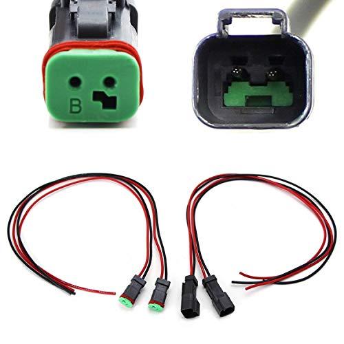 iJDMTOY 2-Pk 20 Extra Long Deutsch DT DTP Male/Female Adapters Connectors Pigtails, Good For Cubic LED Pod Lights, LED Light Bar, LED Work Lamps, Fog Lights, etc