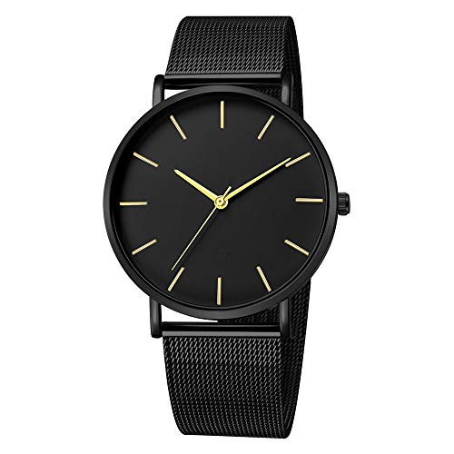 Mens Simple Watch Analog Quartz Stainless Steel Mesh Band Dial Casual Wrist Watches for Men (H-3)